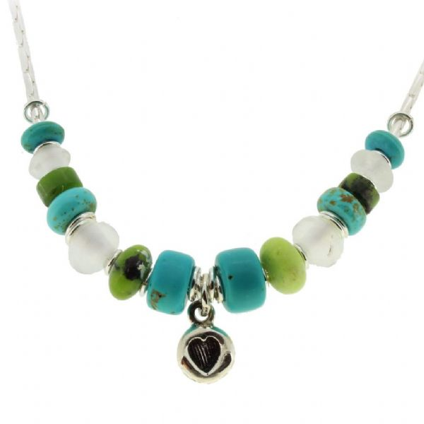 Heart necklace, Blue, green, turquoise gemstones. Our no.5A